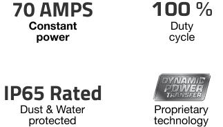 70 AMPS - 100% DUTY CYCLE - IP65 - PROPRIETARY TECHNOLOGY
